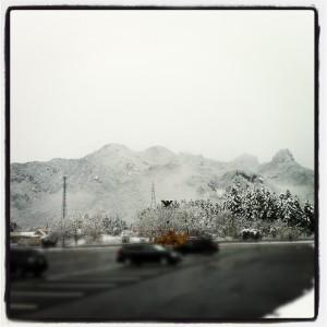 妙義山と雪