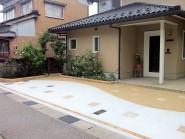 レンガと洗い出し 駐車場工事 富山市
