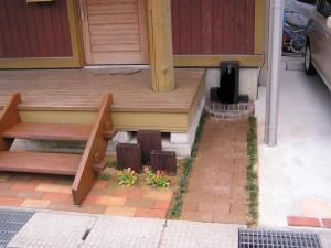 レンガと枕木のかわいいファサード 富山市3