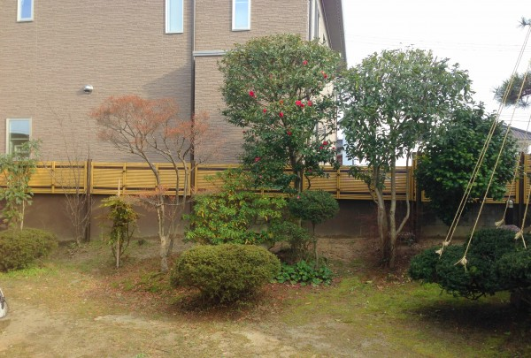 虎竹のラインがとってもきれいな竹垣工事 富山市4
