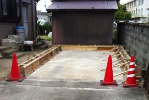 ガレージ基礎型枠組工