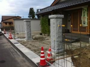 みかげ石門柱据付