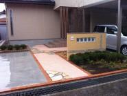 塗り壁と樹脂洗い出しのアプローチ 富山市