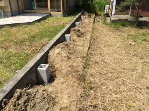 フェンスの基礎埋め込み
