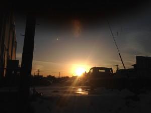 富山の冬の夕暮れ