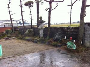 庭木撤去とブロック解体
