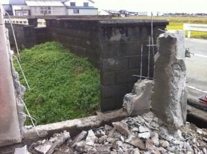 境界ブロック塀、基礎解体