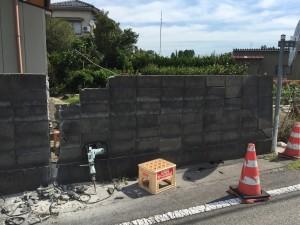 既設ブロック塀解体