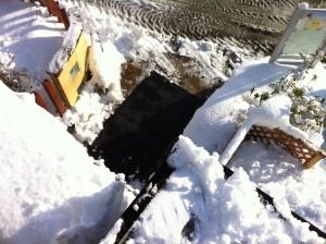融雪マットと門柱