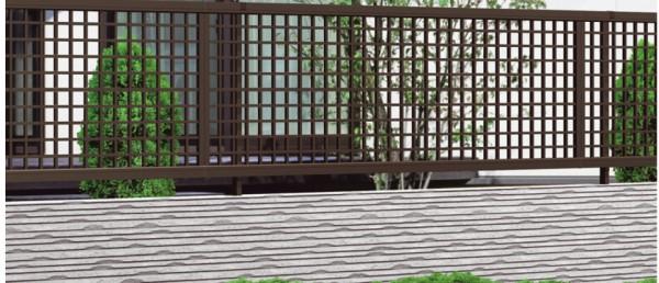 気品ある井桁格子 エクモアX3型フェンス 三協アルミ1